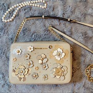 Michael Kors Jet Set Floral Leather Crossbody Bag